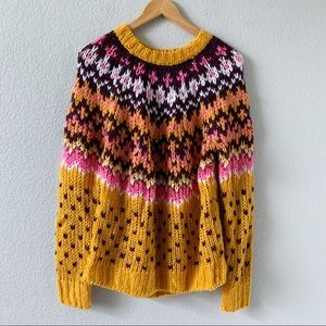 FOREVER 21 Fair Isle Chunky Knit Crew Sweater S